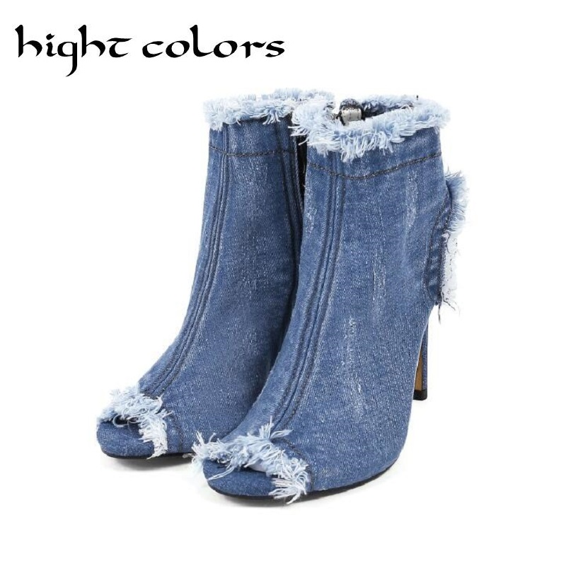 2018 fashion hole denim cool boots for women summer stiletto high heels elastic boots open toe sandals women shoes size 33 40 denim zipper hollow worn stiletto womens sandals