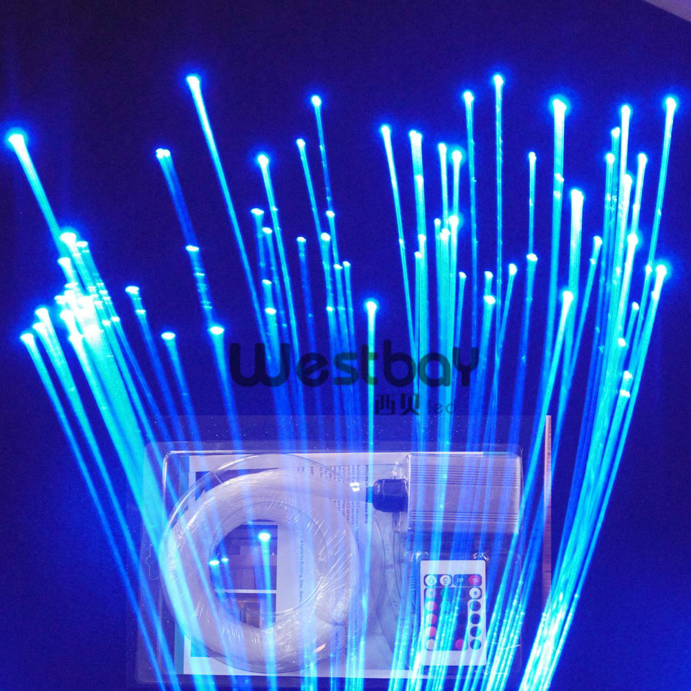 LED fiber optic star ceiling kit with 150pcs 0.75mm 3m long fiber+5W light engine+ remote controller+16 color lea 501dmx 5w led light engine with remote controller with dmx function