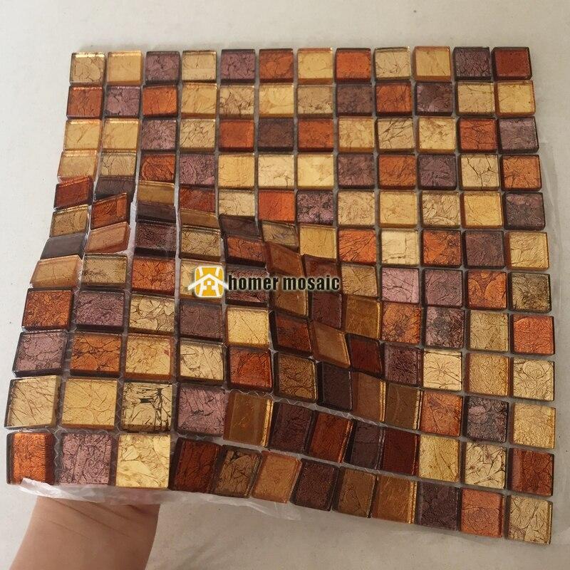€ 202.0 |Mosaïque en verre de couleur marron orange pour carreaux de douche  de salle de bain carreaux de dosseret de cuisine HMB1456-in Fonds d\'écran  ...