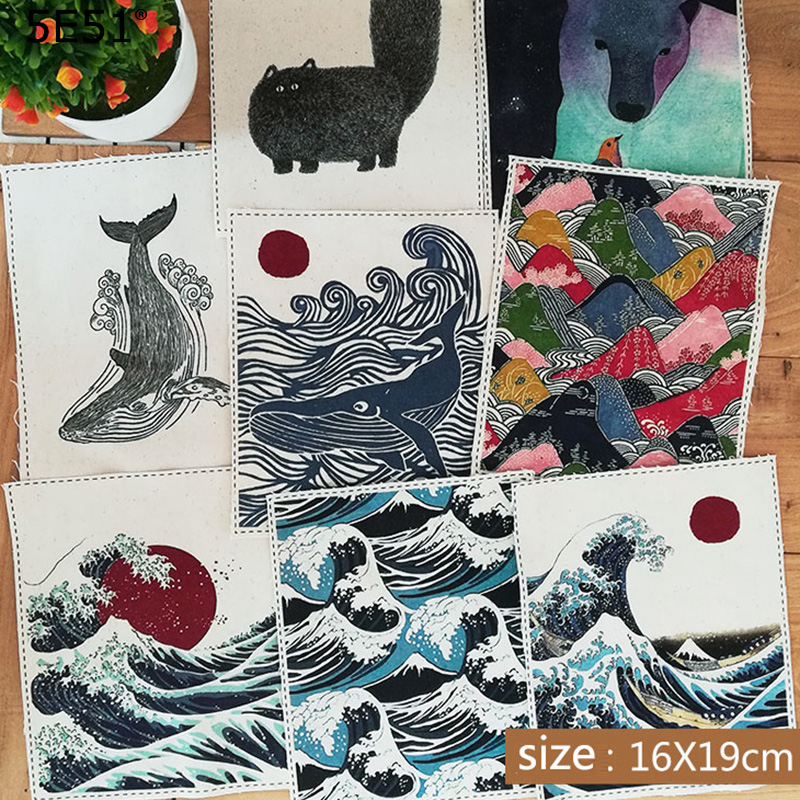 Handmade diy cotton and linen patchwork wall covering fabric Japanese style(China)