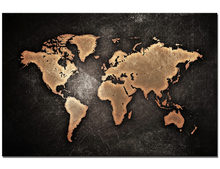 DIY Frame Vintage World Map Canvas Painting HD Digital Printing Golden Map Picture Wall Poster Decoration For Living Room(China)
