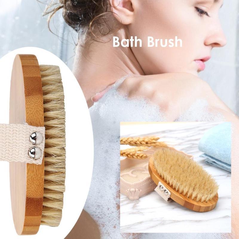 Body Brush Natural Boar Bristle Organic Dry Skin Body Brush Bamboo Wet Back Shower Brushes Exfoliating Bathing Brush