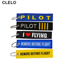 CLELO Fabric luggage tag suitcase Lables with Key Ring Chain OEM baggage Embroidery Travel bag tags For Aviation Gifts
