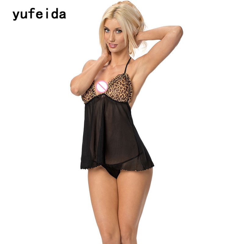 YUFEIDA Sexy Leopard Pattern Female Erotic Laundry Erotic   Sleepshirts   For Women Intimate Sexy Goods For Adults   Nightgowns