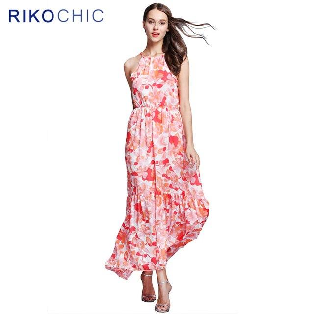 c39b4e2ba30 Women Plus Size Dress Summer Fashion Boho Beach Chiffon Red Floral Dress  Sexy Sleeveless Long Maxi Dresses Floor Length M033