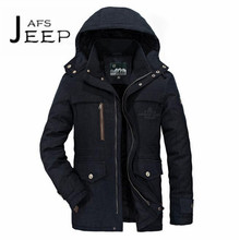 AFS JEEP Russian Winter 2017 Cashmere Inner Keep Warmly Parkas Coat,Solid Military style Loose Hooded Cotton Coat Khaki Blue