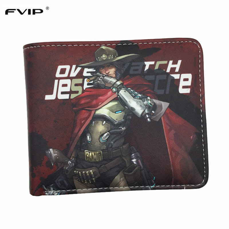 FVIP Anime Game Wallet Overwatch Wallets MCCREE /TRACER/GENJI/HANZO 22 Heroes New Design Purese With 6 Card Holders hot anime wallets overwatch student wallet men and women casual short wallet cartoon fashion coin purse genji hanzo tracer