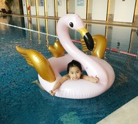 Gaint Inflatable Pink Flamingo With Gold Wings Swimming Ring Kids Adult Inflatable Pool Floating Children Women Swim Float