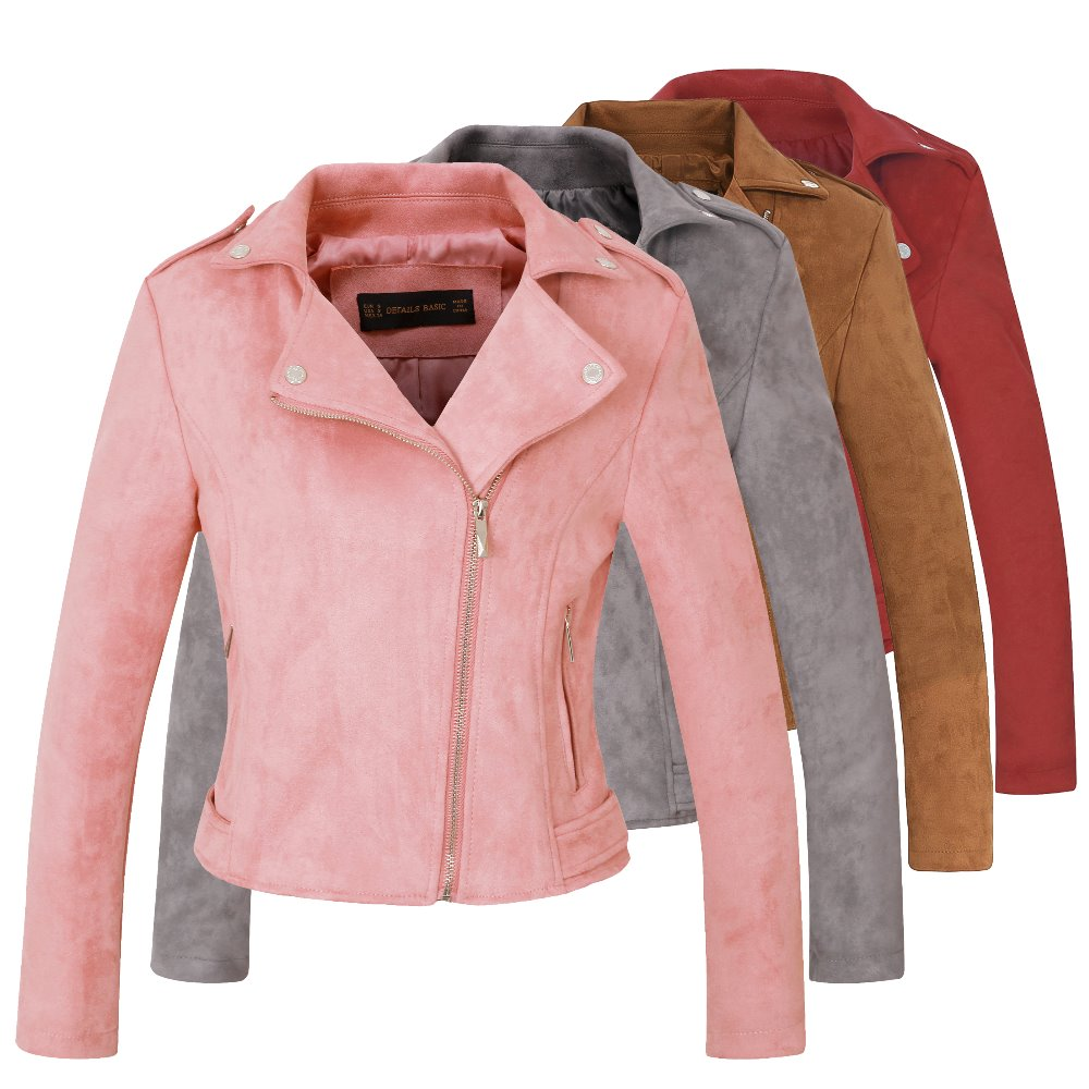 New Autumn Witner Women Motorcycle Faux PU Leather Pink Red Gray Jackets Lady Biker Outerwear Coat with Belt Hot Sale 4 Color