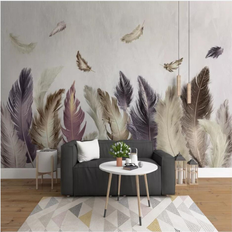 Modern minimalist golden feather background wall decorative painting