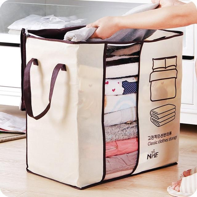 Non Woven Collapsible Plus Size Clothes Storage Bag Organizer Closet For Pillow Quilt Blanket
