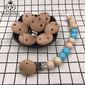 Image 3 - 20pcs Wooden Pacifier Clip Nursing Accessories Beech Pacifier Clips Chewable Teething Diy Dummy Clip Chains Baby Teether