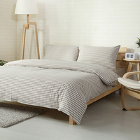Family Style Beige Stripes White Plaids Linens Bedding Sets 100 Washed Cotton Queen Full Double King