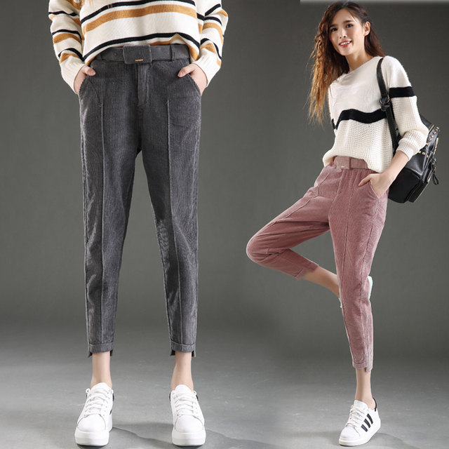 high quality/Women's Corduroy Pants Loose Large Casual Harlan Pants Nine Pants /trousers for women/