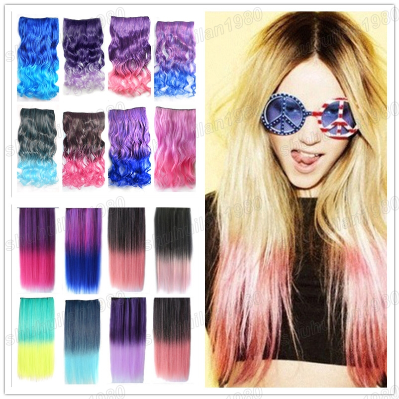 Free Shipping Hot Stylish 1824 Rainbow Fading Color Curl Hair