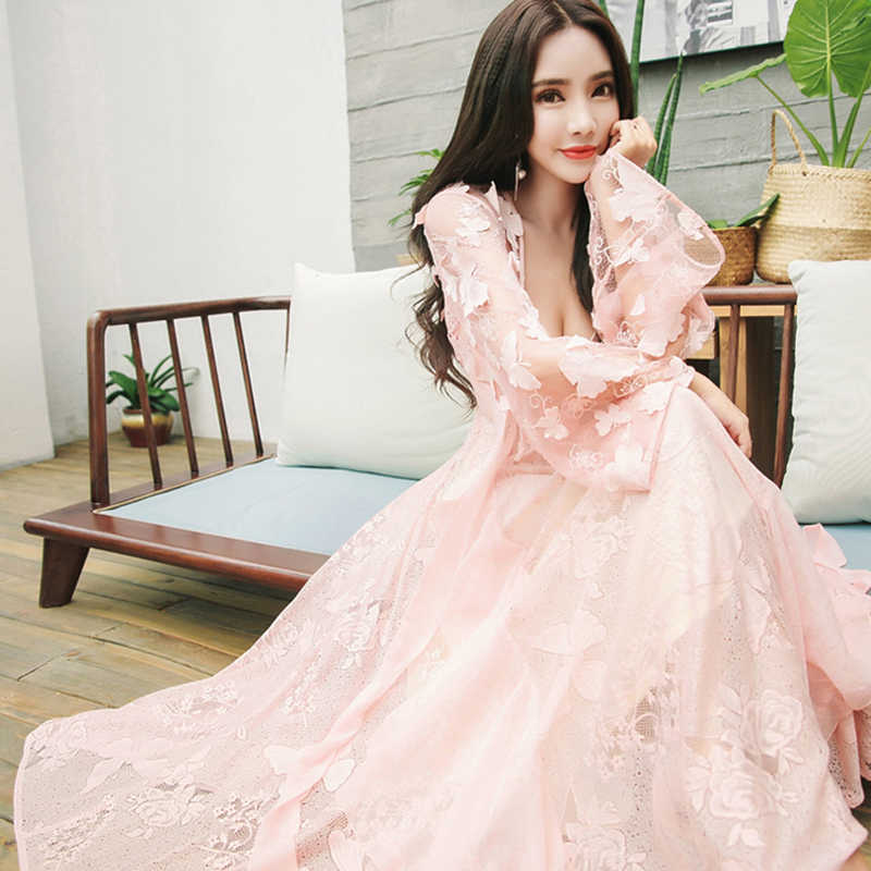 Lace Embroidery Butterfly Woman Nightgowns Two-Piece Nightdress Princess White Pink Long Sleeping Dress QZ8610