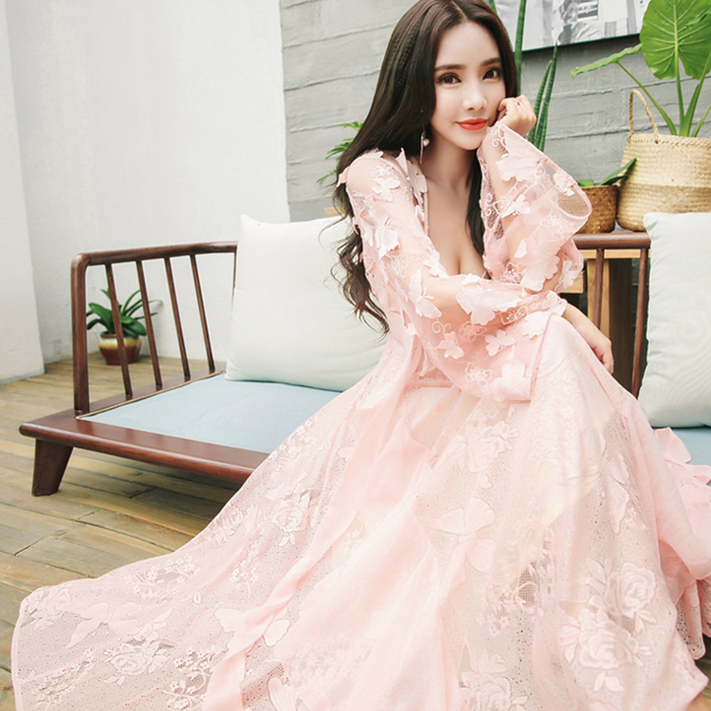 Clearance SaleτNightgowns Sleeping-Dress Two-Piece Butterfly White Princess Lace Woman Pink Long Embroidery