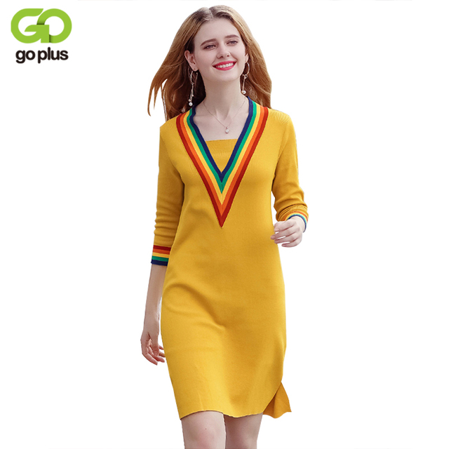 9776bf4539f GOPLUS V Neck Sexy Knitting Sweater Dress Women Elastic Soft Striped Black  Yellow Autumn Winter Dresses