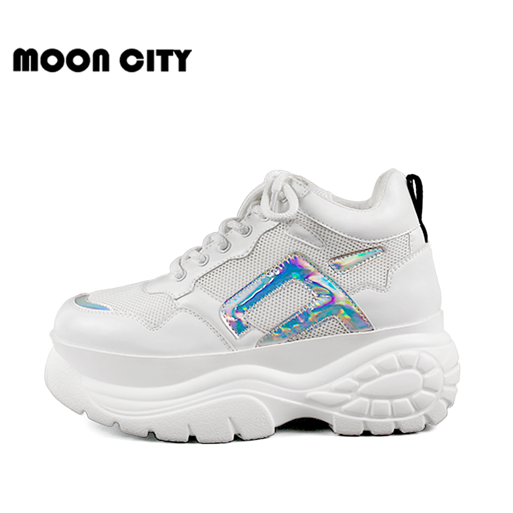Image 4 - Womens Sneakers 2019 new fashion thick high platform women's sports shoes chunky casual tennis shoes ladies brand mesh shoes-in Women's Vulcanize Shoes from Shoes