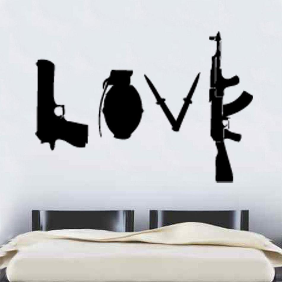 W227 Banksy Love Weapons Қабырға жапсырмасы Art - Үйдің декоры - фото 1