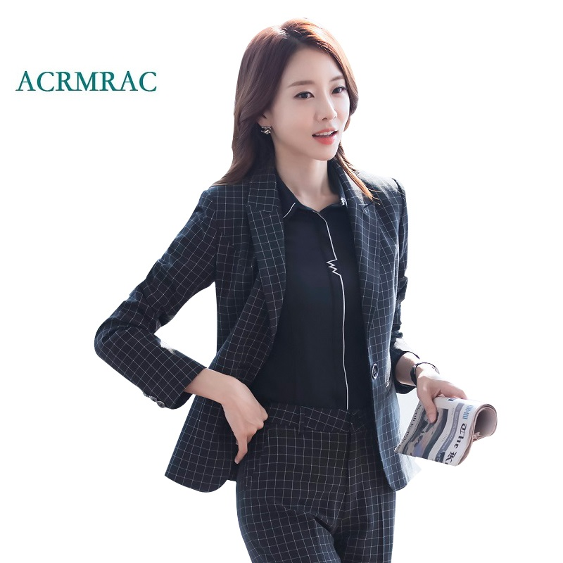 ACRMRAC Womens suits New Spring and autumn lattice Slim Blazers pants Business OL Formal Pants Suits