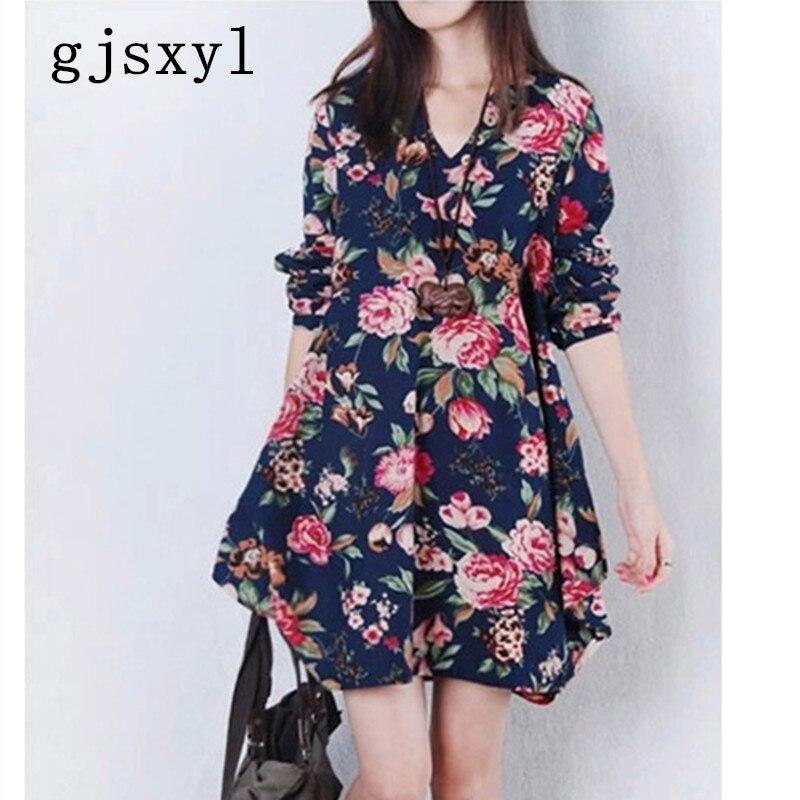 Gjsxyl 2018 новый для беременных женщин модное платье цветок белье хлопок v-образным вырезом Свободные повседневные платье для беременных Новый ...