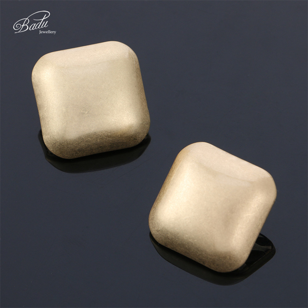 Badu Cubic Square Stud Earring Big Geometric Frosted Gold/Silver Shapes Vintage Women Earrings Jewelry Wholesale Gift Christmas