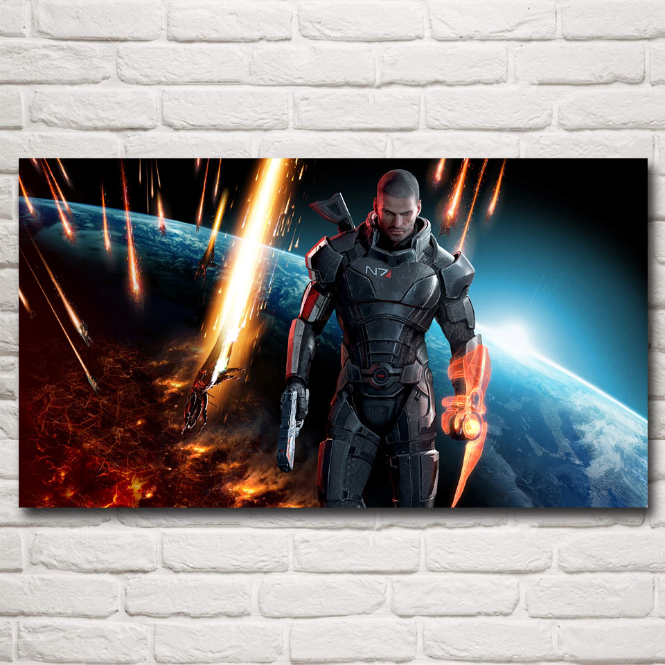 FOOCAME Mass Effect 2 3 4 Shooting Action Game Art Silk Poster Picture Bedroom Living Room Decor 11x20 24x43 30x54 Inches(China)