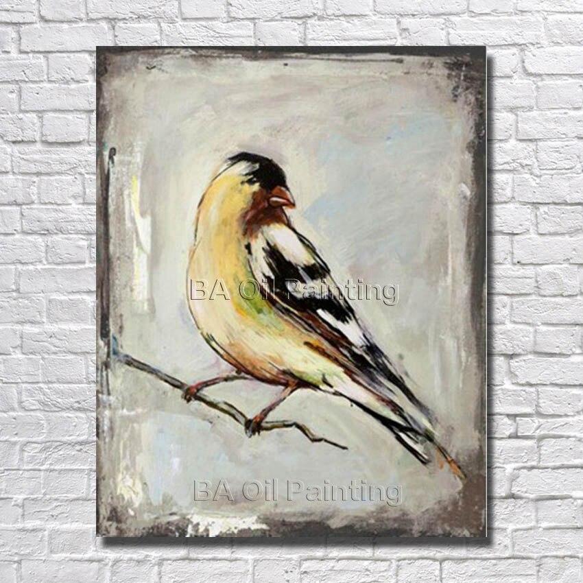 Handgeschilderd Mooie Vogel Olieverf Hoge Kwaliteit op Canvas Abstractive Art Kamer Decoraties Mooie Foto geen Ingelijst