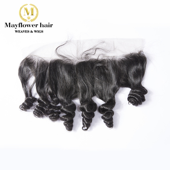 """MFH Funmi Hair Lace Frontal Duchess Curl 13x4"""" Ear To Ear With Baby Hair Line 8""""-16"""" Natural Black Remy Hair Frontal"""