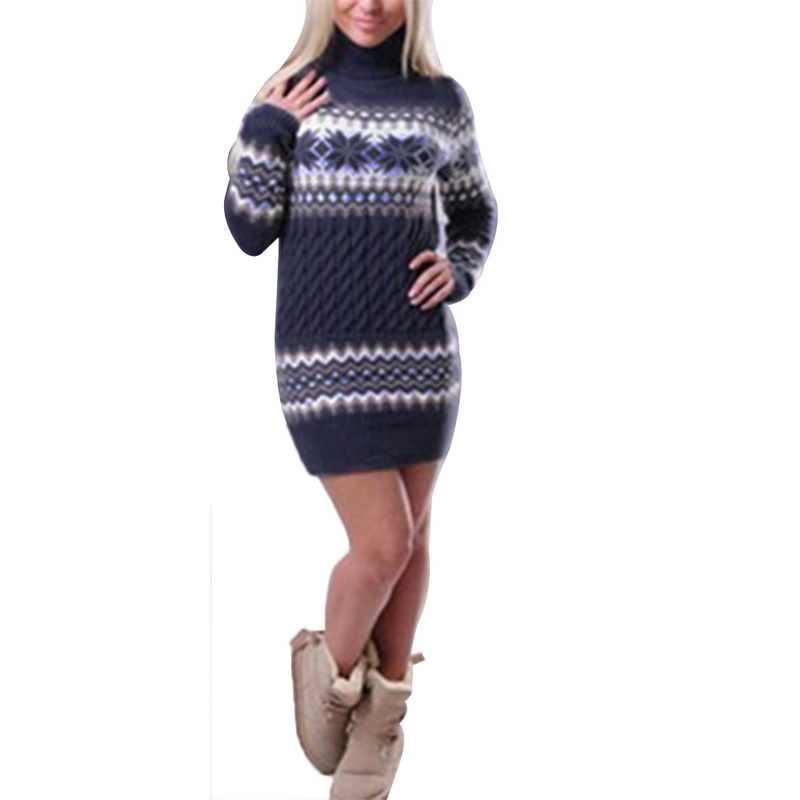 WENYUJH 2019 ฤดูใบไม้ร่วงฤดูหนาวเสื้อกันหนาวผู้หญิงแขนยาวเสื้อกันหนาวชุดหญิงยาว Patchwork เสื้อไหมพรมคอเต่า