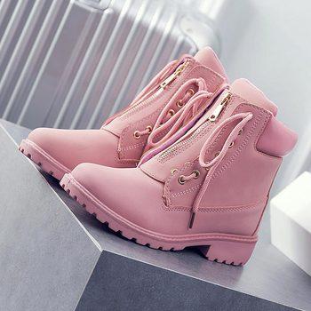 Mujer invierno botas de nieve 2018 mujeres, de moda, de otoño e invierno, de tobillo de las mujeres botas de punta redonda de las mujeres zapatos de encaje señoras zapatos