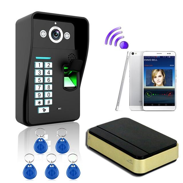 Ennio New Arrival Fingerprint +password +RFID card WiFi Wireless Video Door Phone DoorBell Home Intercom System IR night vision
