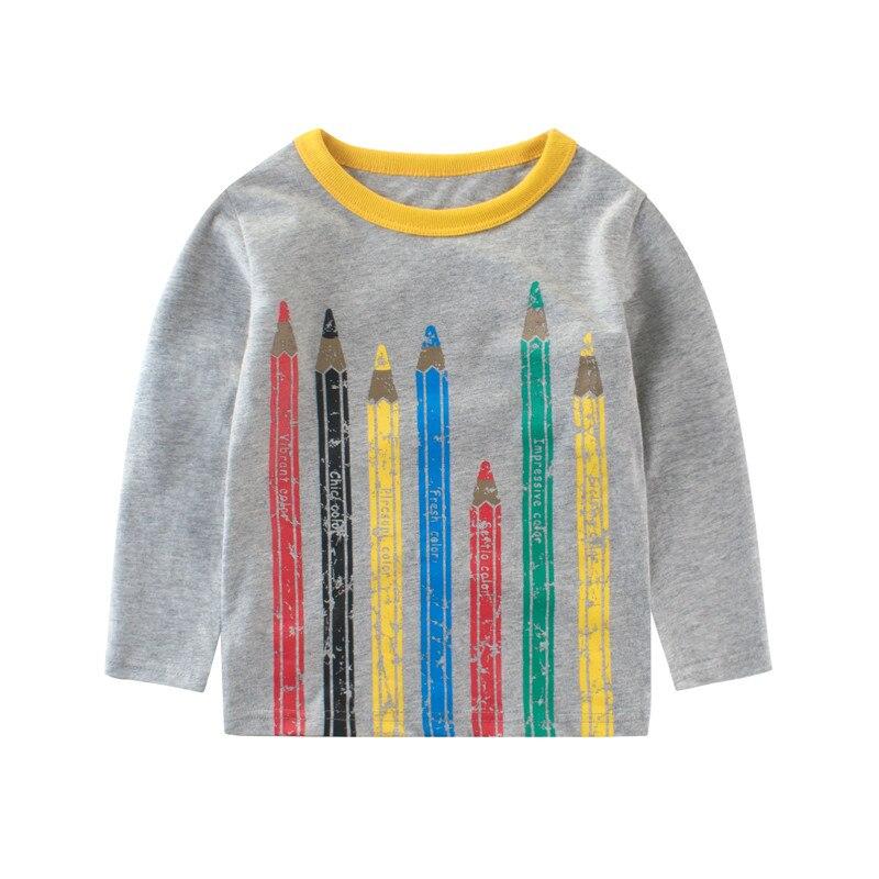 Дети Мальчики Длинные рукава футболка Футболка для маленького мальчика с принтом цвет ручки на осень-зиму детская одежда модные брендовые ...
