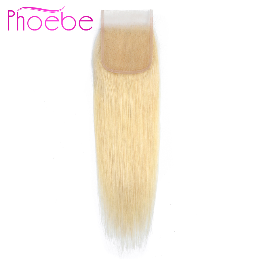 Phoebe Hair Blonde #613 Brazilian Straight Human Hair Closure 4*4 Free/Middle/Three Part Non Remy Swiss Lace 613 Hair Extensions