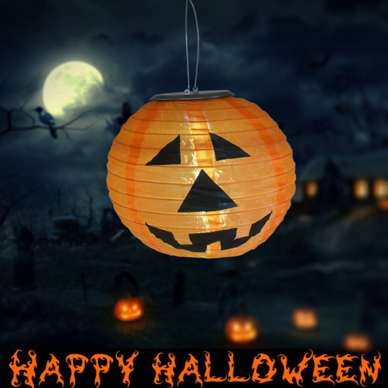 8 inch led solar light halloween decoration paper pumpkin light hanging lantern lamp festival outdoor party