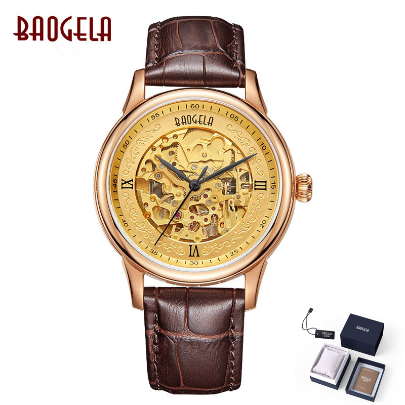 BAOGELA Golden Automatic Watch Men Hollow Mens Mechanical Watches Top Brand Luxury Leather Strap Waterproof Clock kol saati 2018 carnival fashion mens automatic mechanical watches top brand luxury casual leather strap watch men calendar male clock kol saati