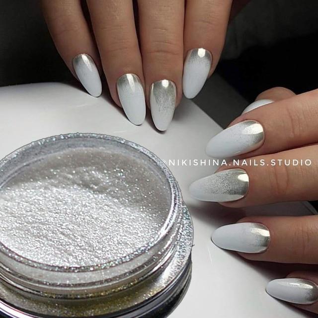 Chrome Nail Powder Gel: 1pcs Silver Mirror Magic Pigment Powder Manicure Dust