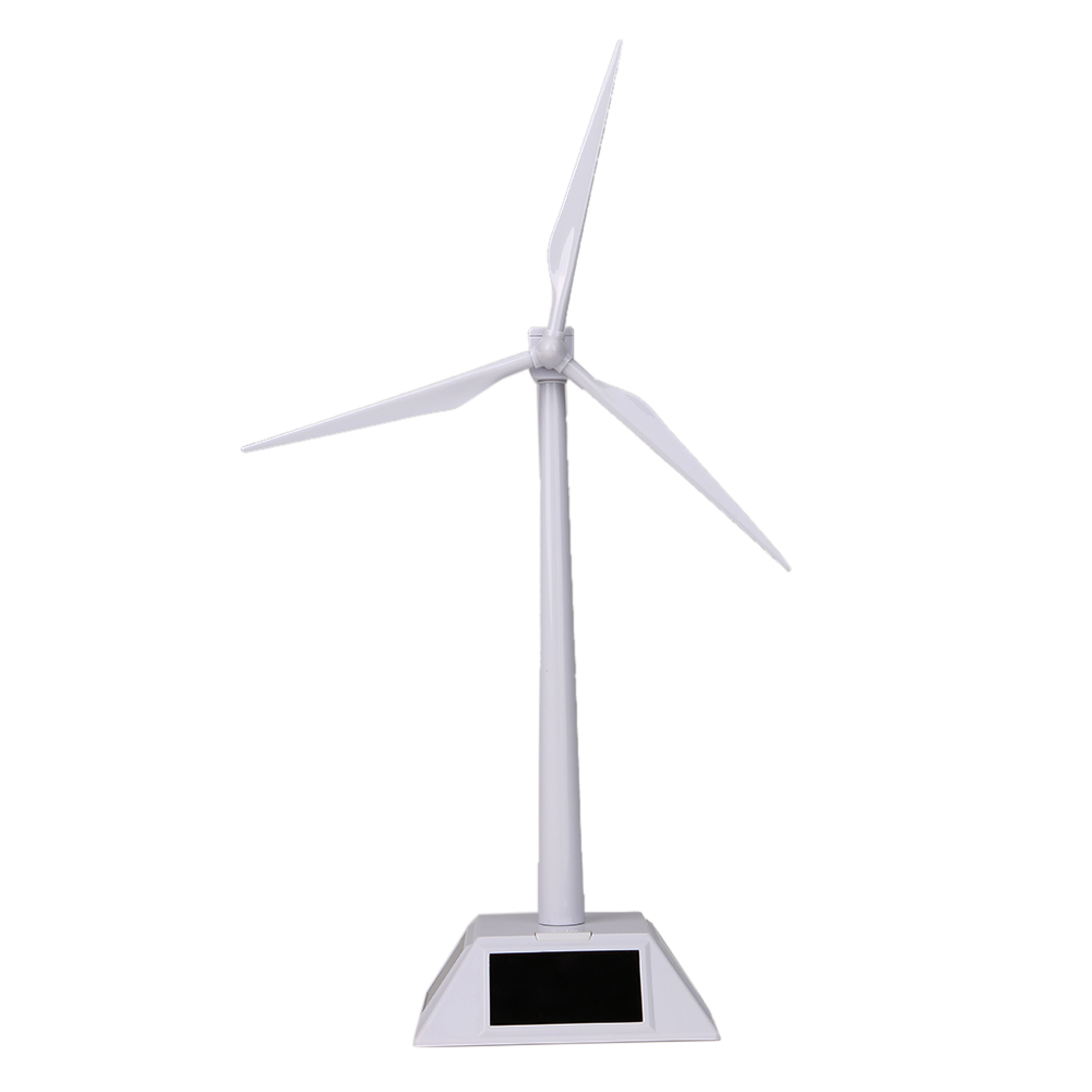 Solar Powered Rotating Base Desktop Model Solar Powered ABS Plastics Windmills Wind Turbine White for Kids