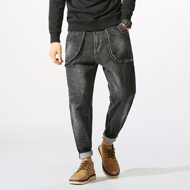 haroun pants men loose big yards pants male han edition personality young students stretch feet pants