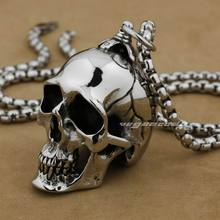 LINSION Huge Heavy 316L Stainless Steel Polished Skull Pendant Mens Biker Rock Punk Style AJ001 Steel Necklace 24inches