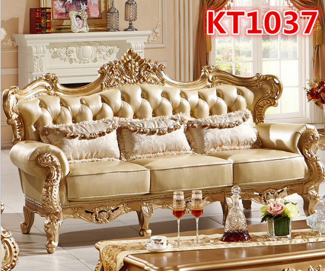 Golden Color Antique Style Sofa Set Kt1037 In Living Room