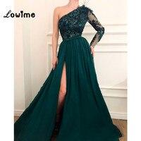 Вышивка одно плечо вечернее платье Разделение сбоку зеленый платья для выпускного вечера 2018 перо Ближний Восток вечерние платье арабский х