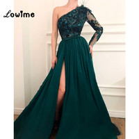 Embroidery One Shoulder Evening Dress High Split Side Green Prom Dresses 2018 Feather Middle East Party Gown Arabic Robe Longue