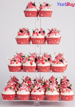 YestBuy 4 Tier Maypole Square Wedding Party Tree Tower Acrylic Cupcake Display Stand With Base (4 (12cm gap))(16.3 Inches)