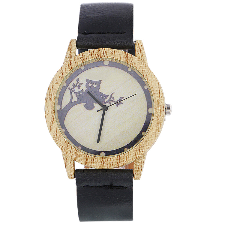 2020 Fashion Women Watches Wood Cartoon Owl Watch Female Luxury Casual Wrist Clock Ladies Quartz Lovers Gifts Unisex Watches