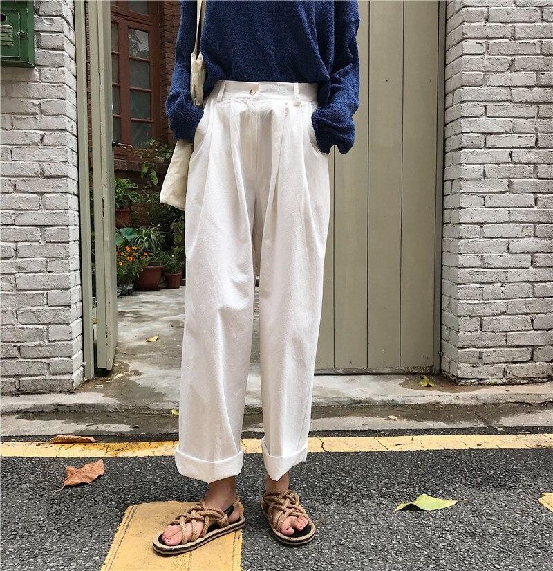 Summer Women   Wide     Leg     Pants   Casual Loose High Waist   Pants   Harajuku Streetwear Korean Cotton   Pant   Bottom Japanese Style   Pants