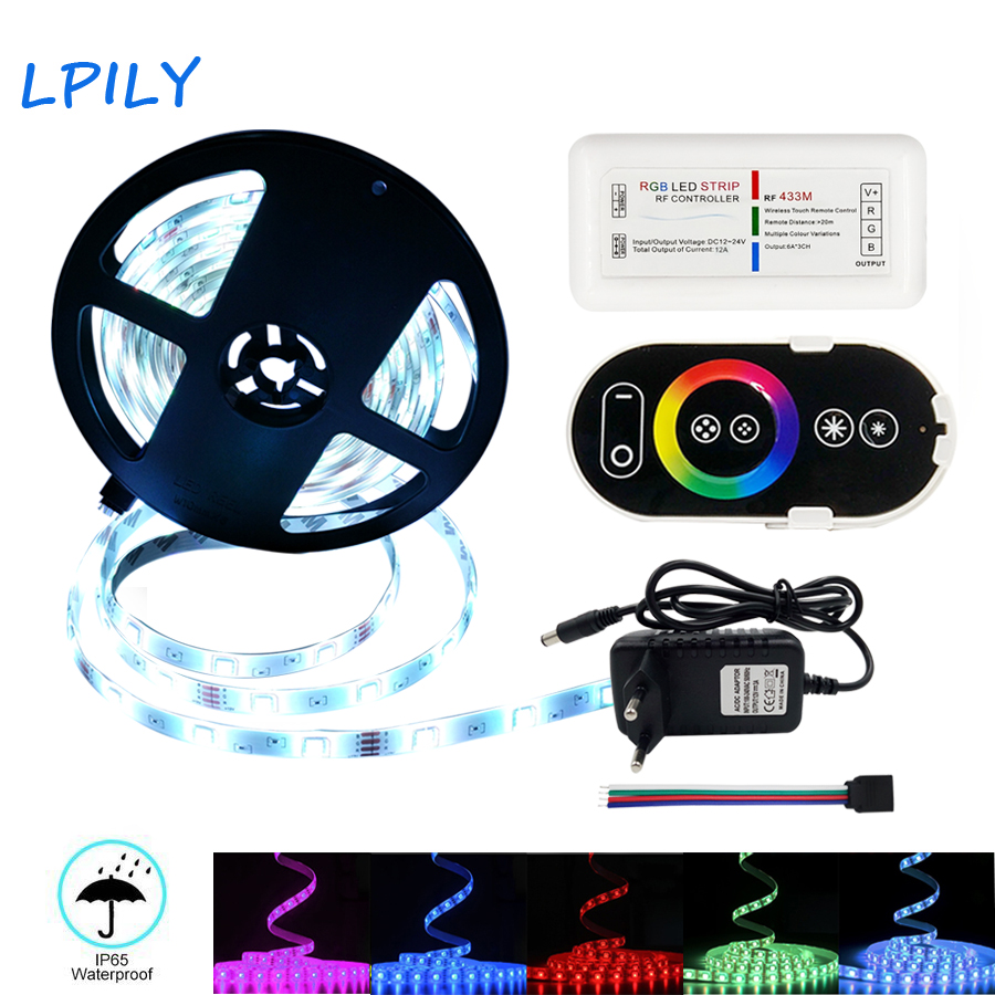 LPILY RGB LED Strip 2835 5050 Non Waterproof DC 12V 30LEDs/m 10m 5m LED Flexible Light Strip 15m with Power and RF Controller 10m 5m 3528 5050 rgb led strip light non waterproof led light 10m flexible rgb diode led tape set remote control power adapter