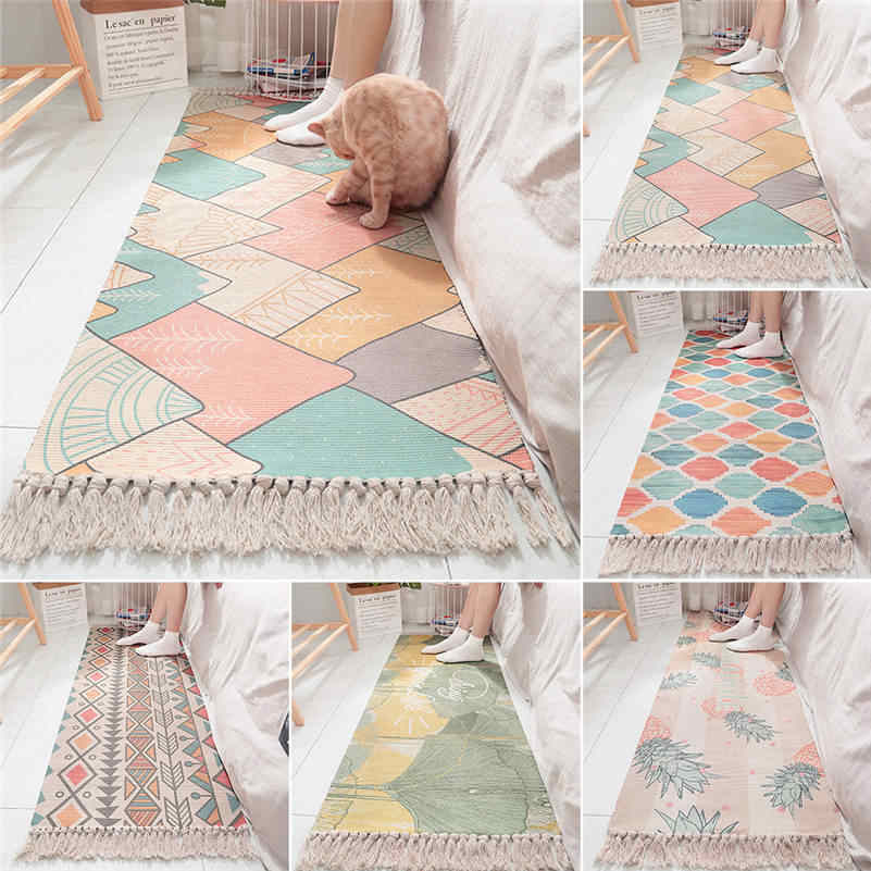 Cotton Bedside Carpet Woven Mat Bathroom Living Room Carpets Geometric Hand Made Indian Rug Bohemian Modern Printing Rug