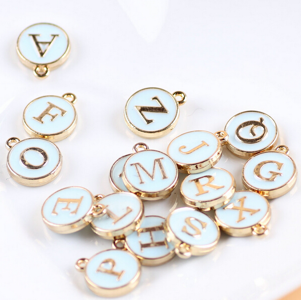 Free Shipping Mint Blue Oil Drop Letter Charms Gold Tone Enamel Diy Bracelet Alphabet Alloy
